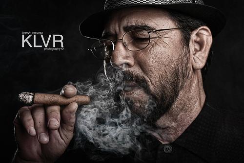 Blowin' Smoke - low key portrait, purposefully dark