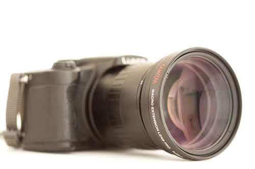 Panasonic FZ5 Superzoom Bridge camera with Olympus MCON-35 close-up diopter lens attached