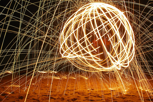 Burning Steel Wool Photography