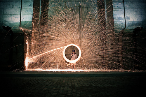 Wheel of sparks from spinning burning steel wool
