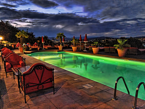 Hotel terrace after sunset - advanced compact camera photo