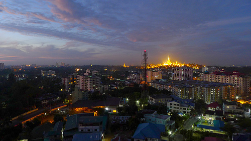 View from Golden Hill Towers (long exposure), Yangon Myanmar with Leica D-Lux 5