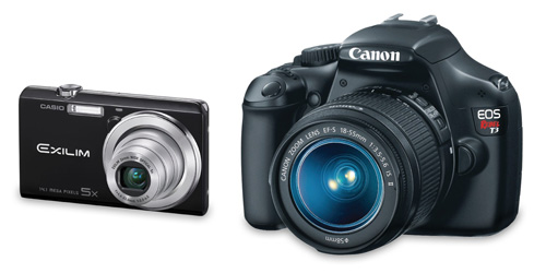 Image showing comparitive size of a basic compact camera compared to a DSLR