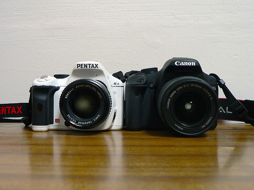 Pentax K-x and Canon 500D DSLR cameras