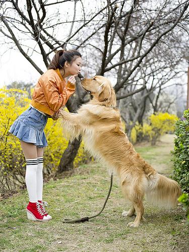 Woman and dog portrait, photographed using a medium format digital camera