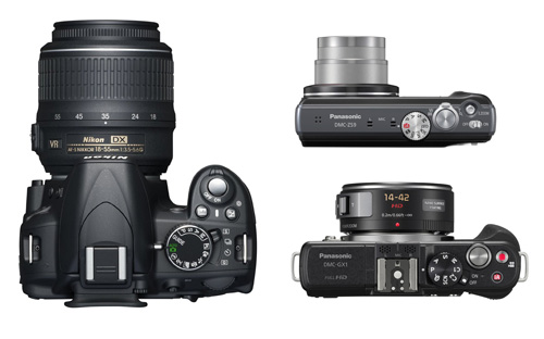 Photo of top-down view of DSLR, MILC, and Compact cameras showing size differences