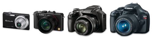 Superzoom camera size compared to basic compact, advanced compact, and DSLR cameras