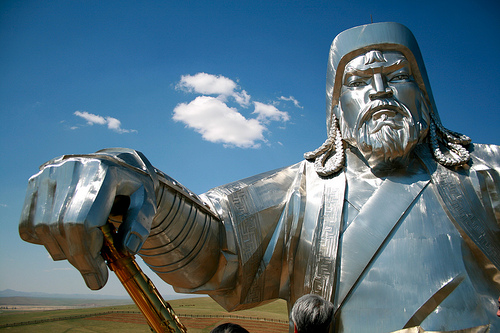 Genghis Khan statue filling the frame
