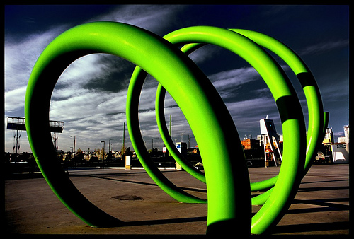 green spiral, example of color contrast