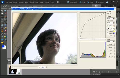The SmartCurve plugin / filter in Photoshop Elements used to brighten shadows