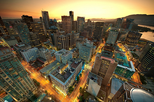 Downtown Vancouver Sunset HDR photo