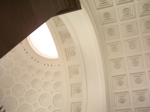 National Archives Rotunda - the walls are all painted white, so exposure compensation was used to achieve a good exposure