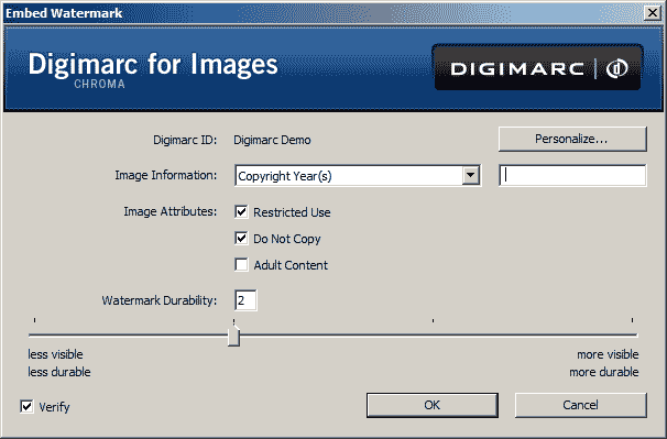 The Digimarc dialog used for adding digital watermarks to images in Adobe Photoshop