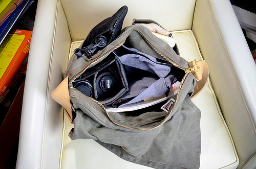 Archival Clothing Field Bag, converted to camera bag