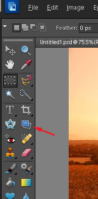 The straighten tool in Photoshop Elements