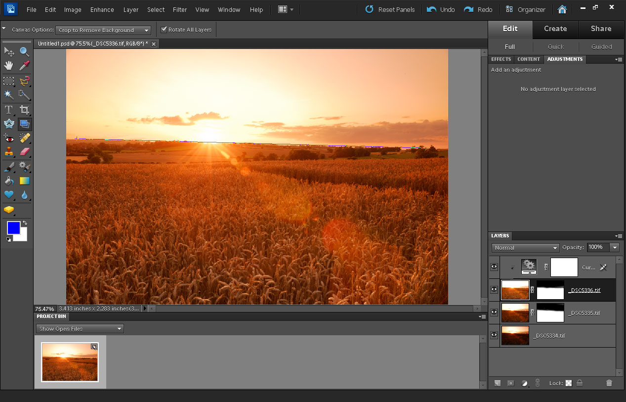 Drawing Lines In Photo Elements : How to get a straight horizon in your landscape