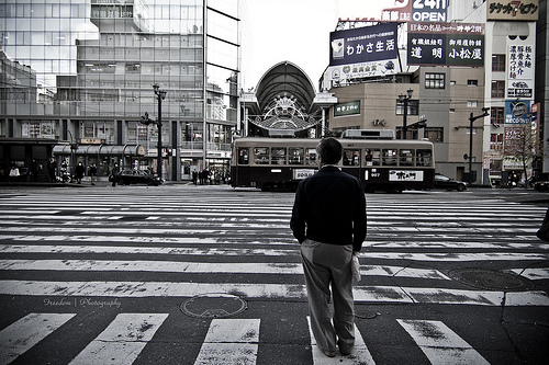Large pedestrian crossing street photograph