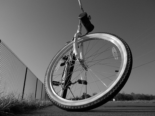 Using a low angle, looking up at a bicycle