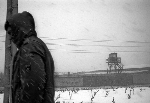 Power - black and white snowy scene