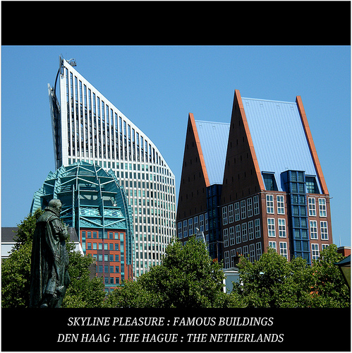 The Hague skyline, various shapes created by the buildings