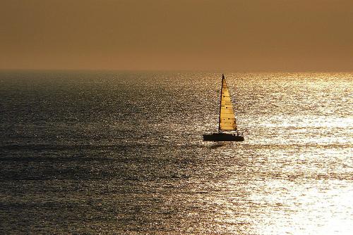 Ocean horizon creating horizontal line