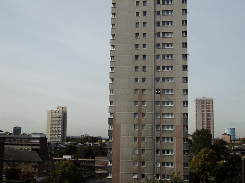 Stockwell's towers - photo composed to give strong vertical lines