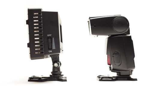 CN-160 LED light panel size compared to a Nikon SB-800 Speedlight hot shoe flash, side view