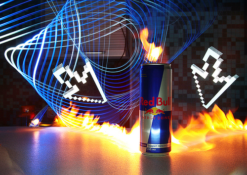 Can of Red Bull with light painting effects