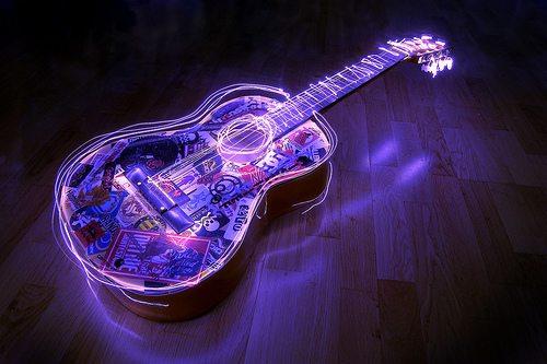 Light painting an acoustic guitar