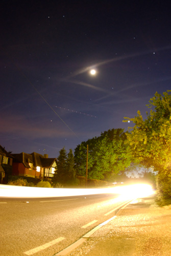 Low angle photograph of a light trail
