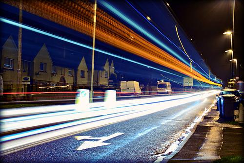 Light streaks left by tall vehicles