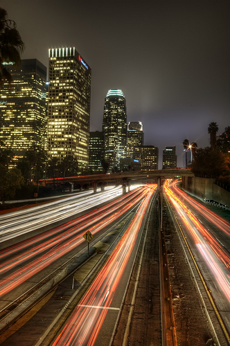 Light trails along a road through the city