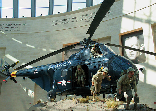 Helicopter diorama photo taken at the Marine Corps Museum