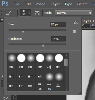 Brush hardness setting in PS CS6