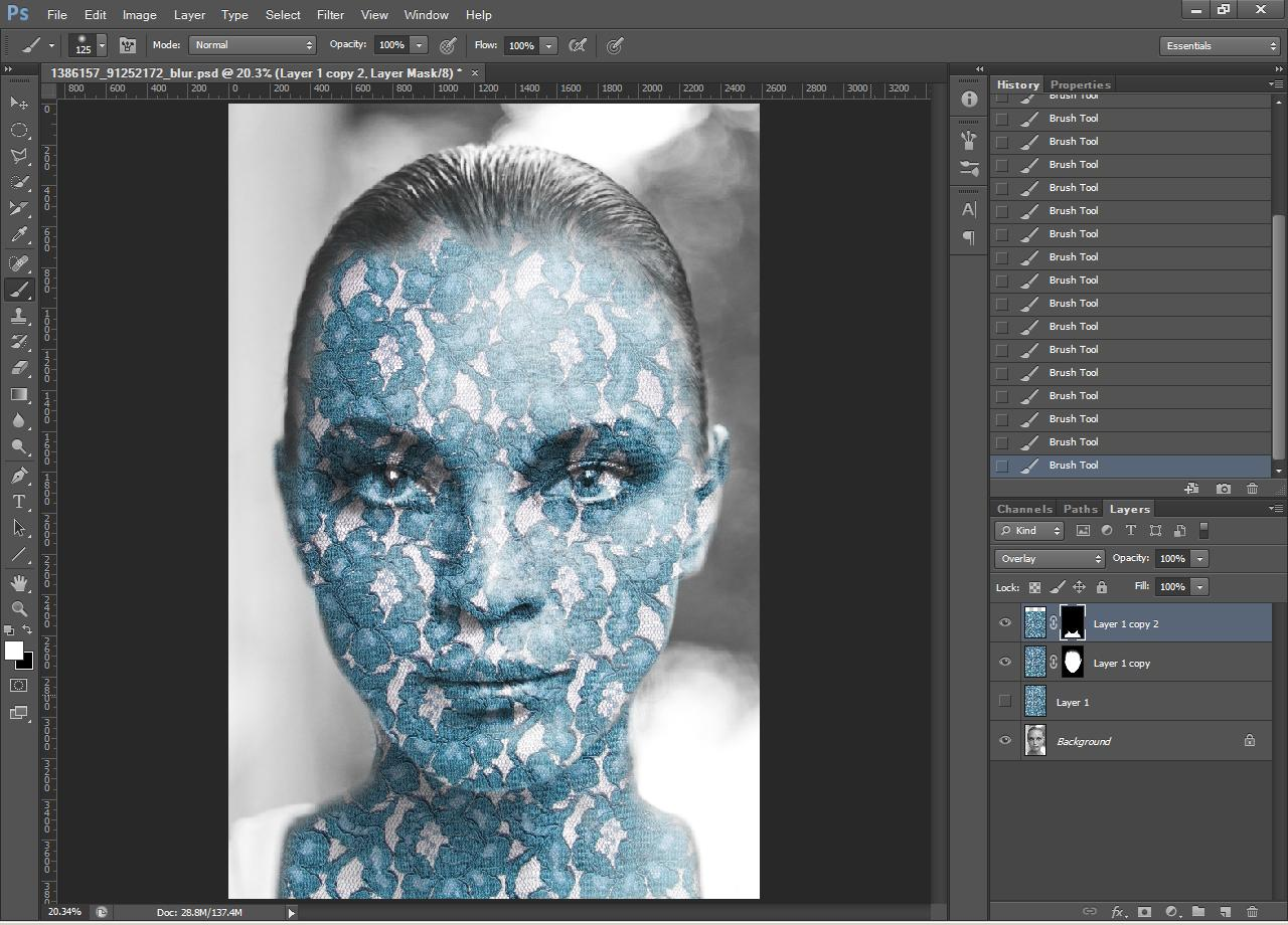 Photoshop tutorial how to apply a texture to a face by using a image after applying texture to neck baditri Image collections