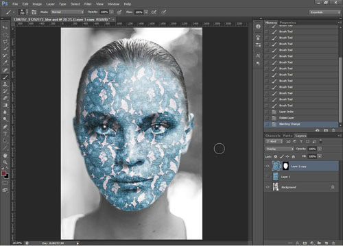 Image after painting layer mask of texture so that it only applies to the face