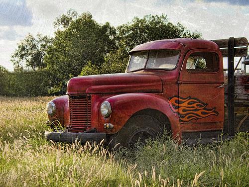 Flamer - old truck in field