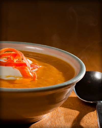 Still life photo of a bowl of soup