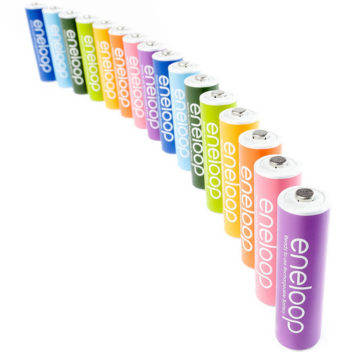 colored eneloop batteries product / still life photo