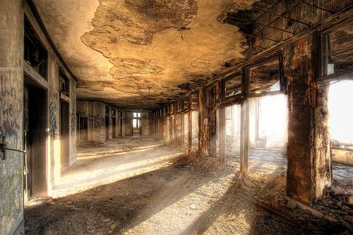 Abandoned building at sunrise