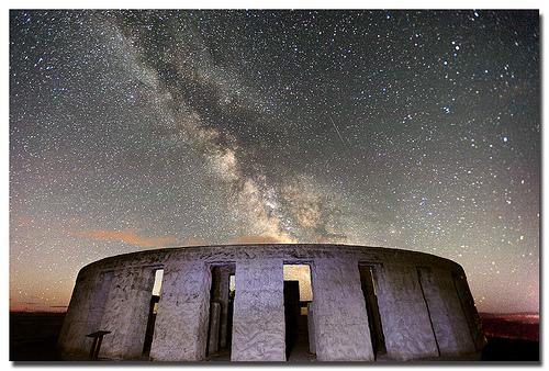Milky Way over Stonehenge night landscape photo