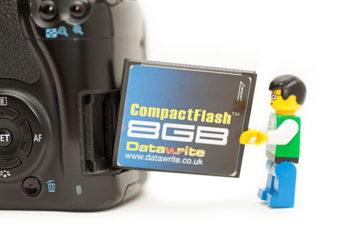 Lego mini figure trying to fit a Compact Flash card into a camera with an SD card slot