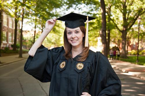 Graduation portrait, wearing mortarboard hat