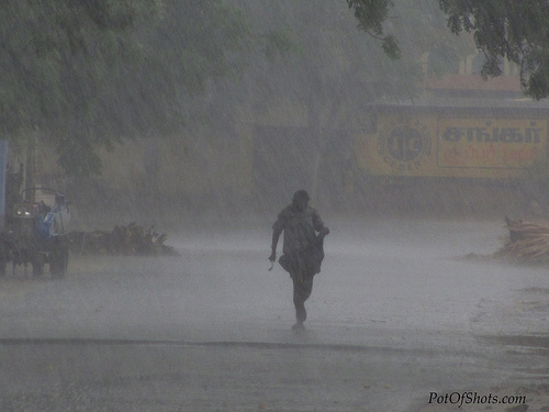 Running for cover in heavy rain