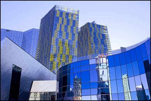 Las Vegas - assortment of differently shaped glass buildings