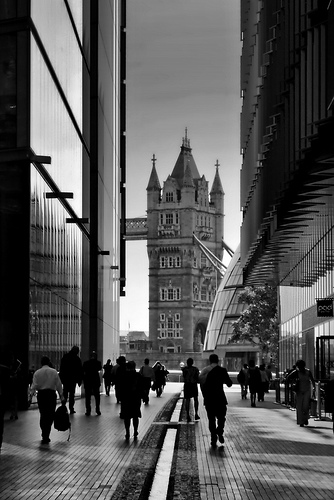Old and New London - contrast between modern office blocks and Tower Bridge