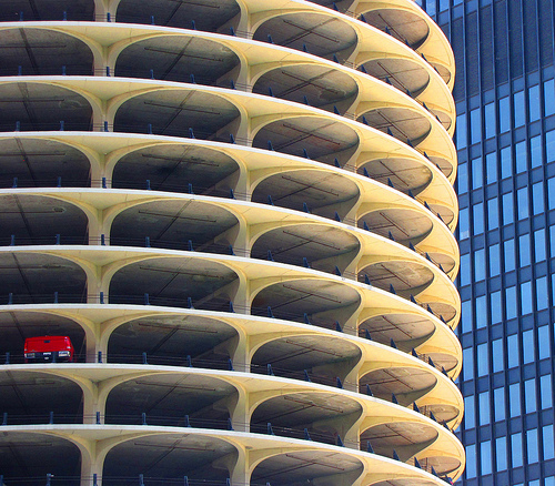 Marina City, Chicago. One-car garage - contrasting architecture plus patterns