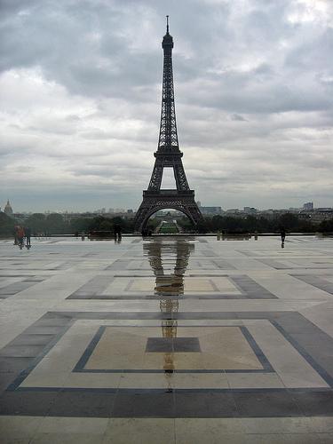Eiffel Tower on a rainy day.