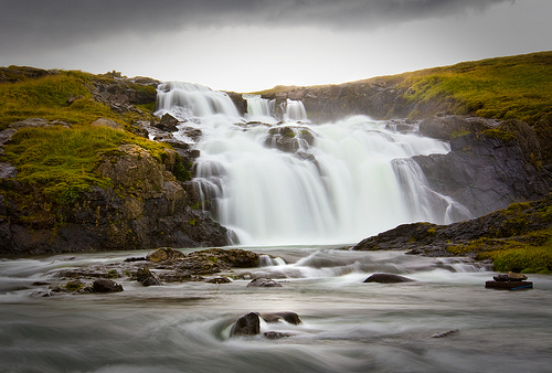 "Iceland = ""waterfall heaven"" - long exposure to create smooth looking water"
