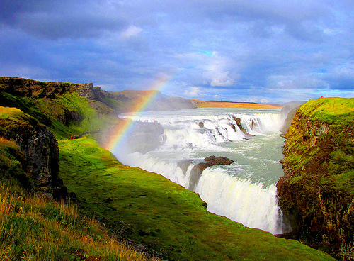 Partial rainbow over Gullfoss waterfall, Iceland